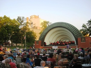 Bandshell Park during a concert.