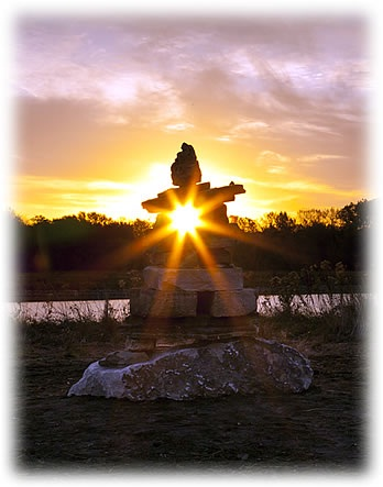 Inuksuit at Ada Hayden - setting sun
