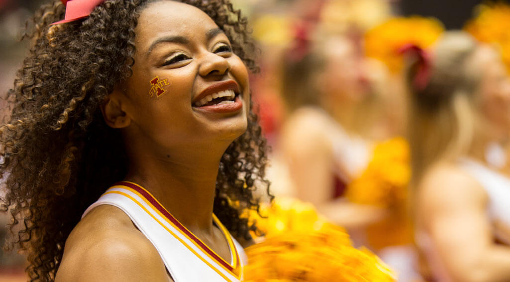 A female ISU cheerleader.