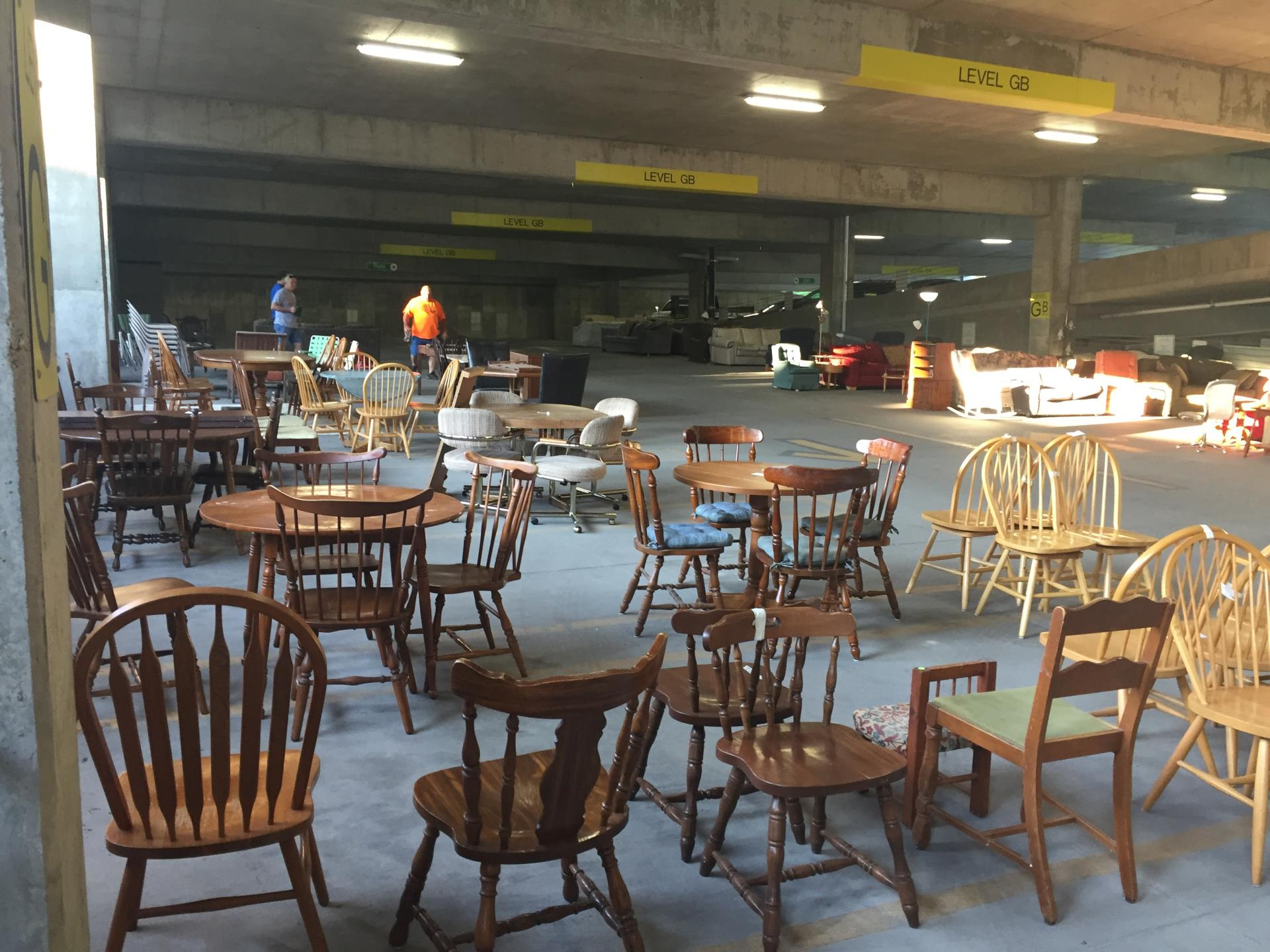 Chairs and tables for sale at the 2017 Rummage Rampage