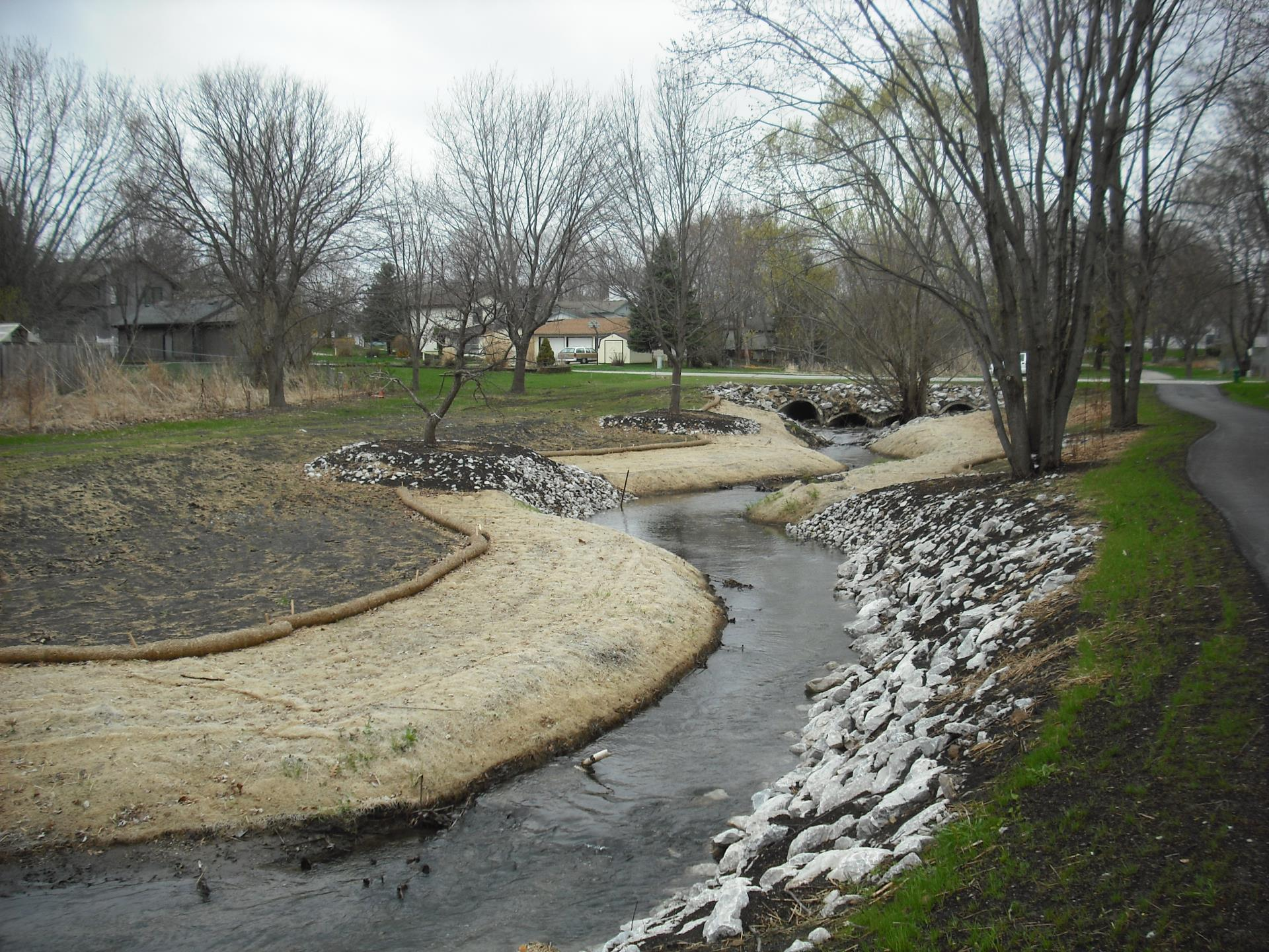 Narrow winding spring. Link to erosion control page.