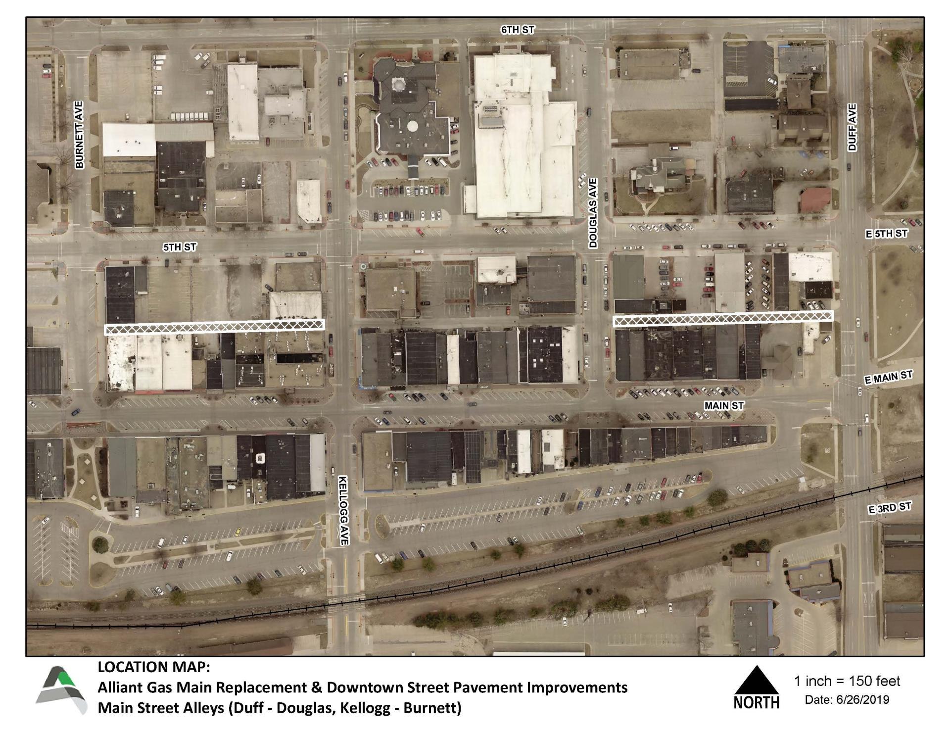 Alliant Gas and Downtown Alleys Project Map