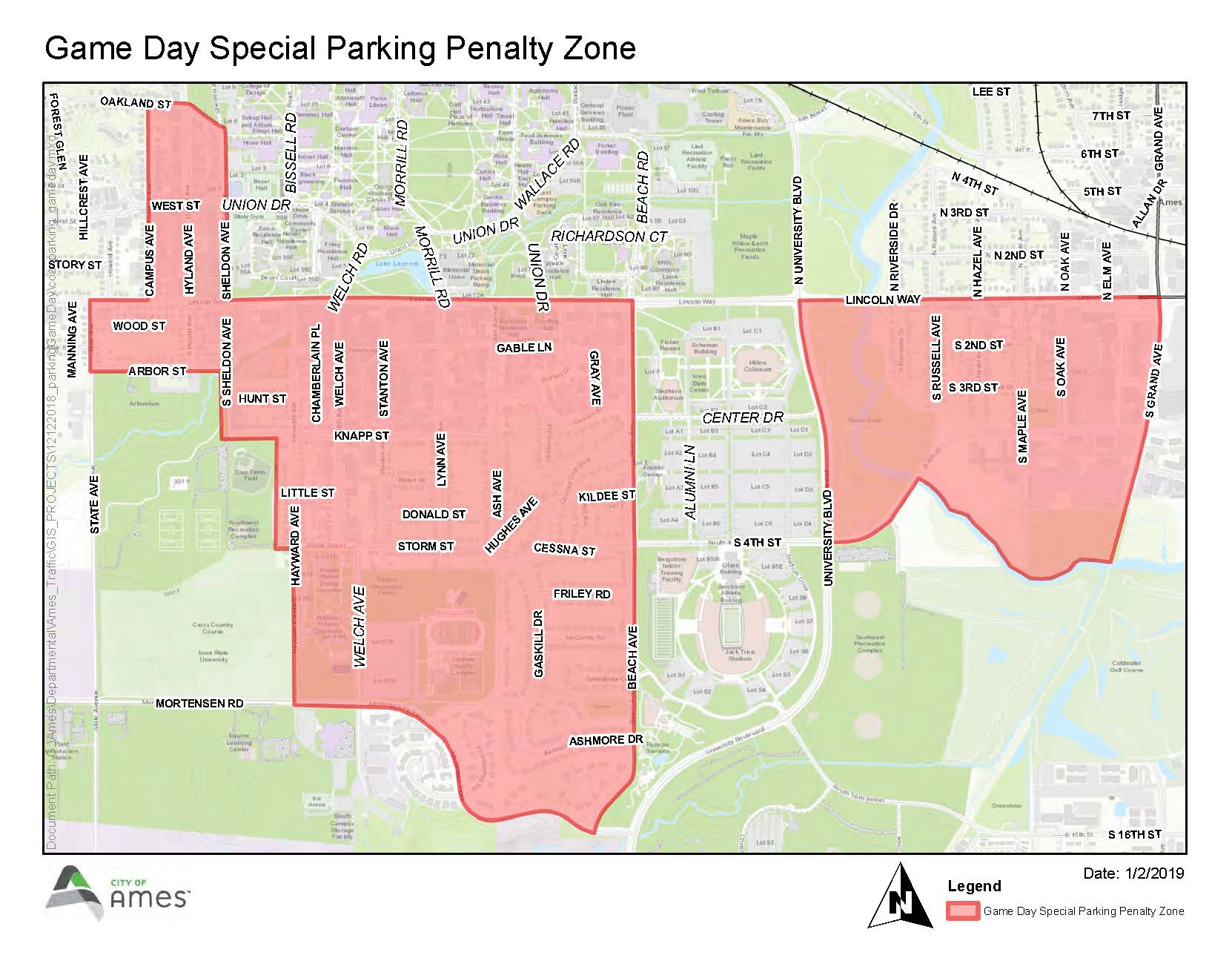 Game Day Special Parking Penalty Zone map