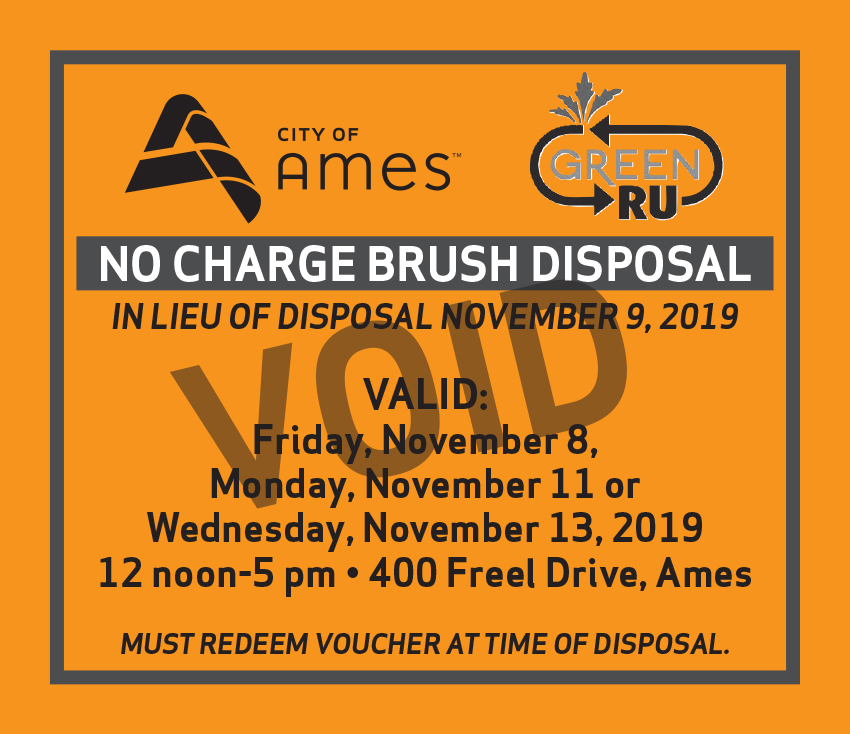 Voided Brush disposal voucher including dates, times, and location.