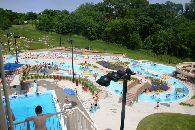 View of the lazy river from the top of a water slide