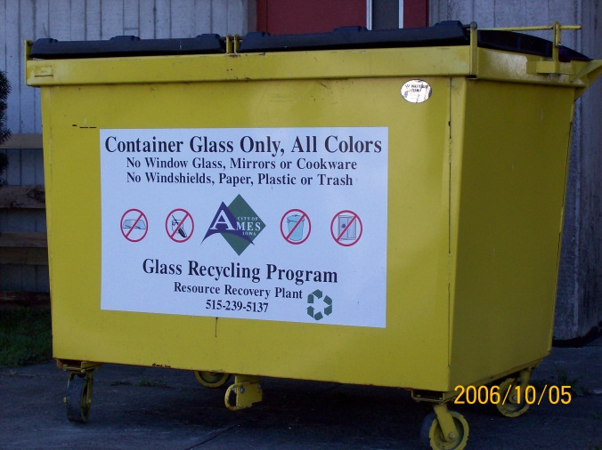 Glass Recycling Bin with sign describing allowable contents