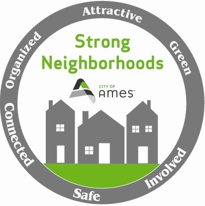 Strong Neighborhoods logo. Organized. Connected. Attractive. Green. Involved. Safe.