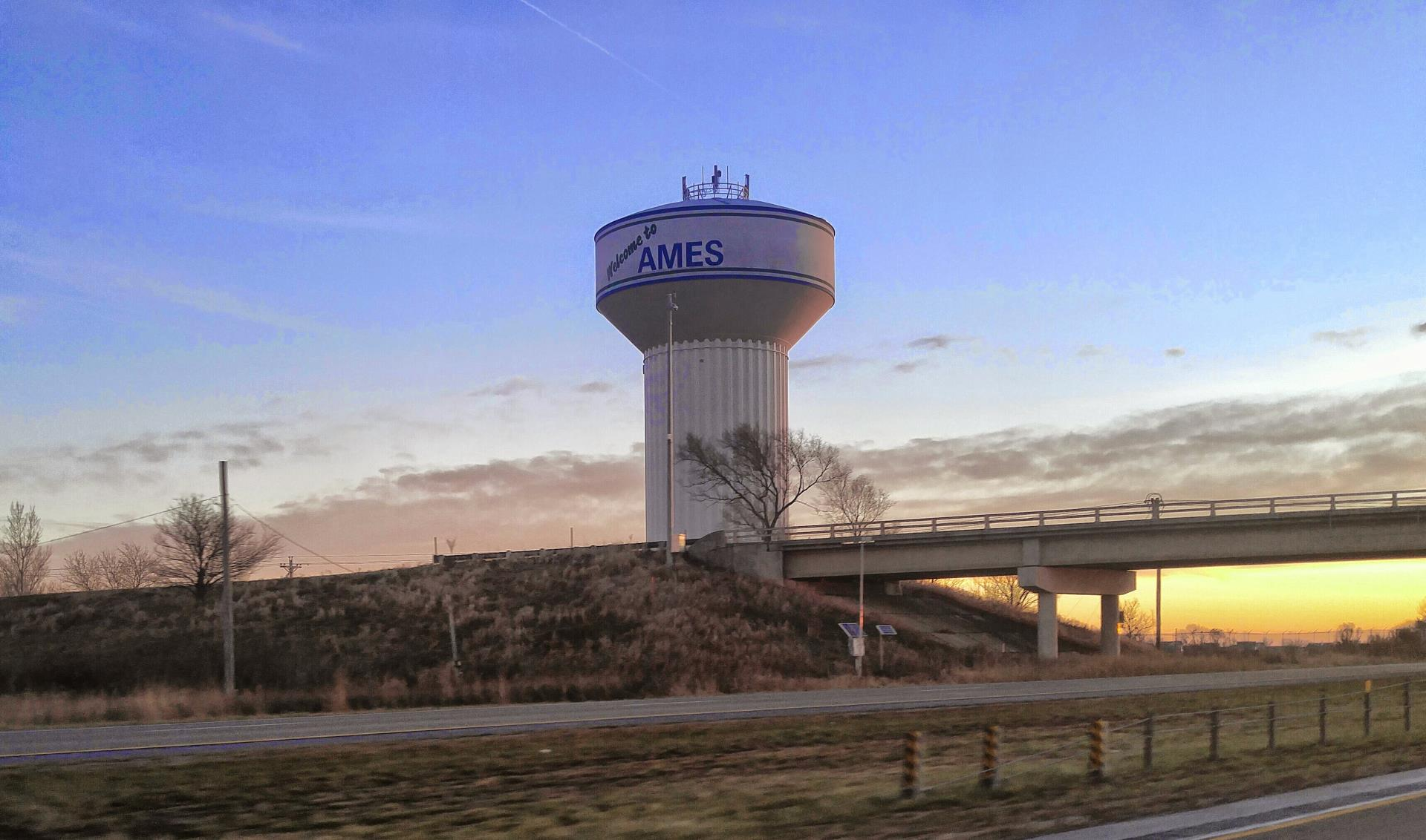 Water Tower with City of Ames Logo on it