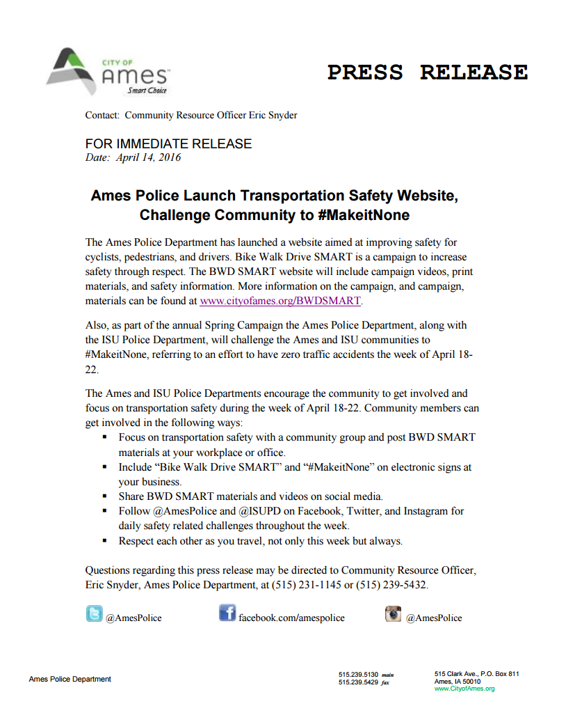 Bike Walk Drive Smart Press Release