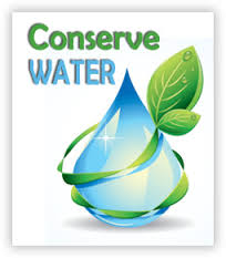 "rain drop with a leaf around it and ""Conserve Water"" text"