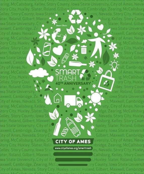 Smart Trash 40th Anniversary poster- various items of trash arranged in the shape of a lightbulb