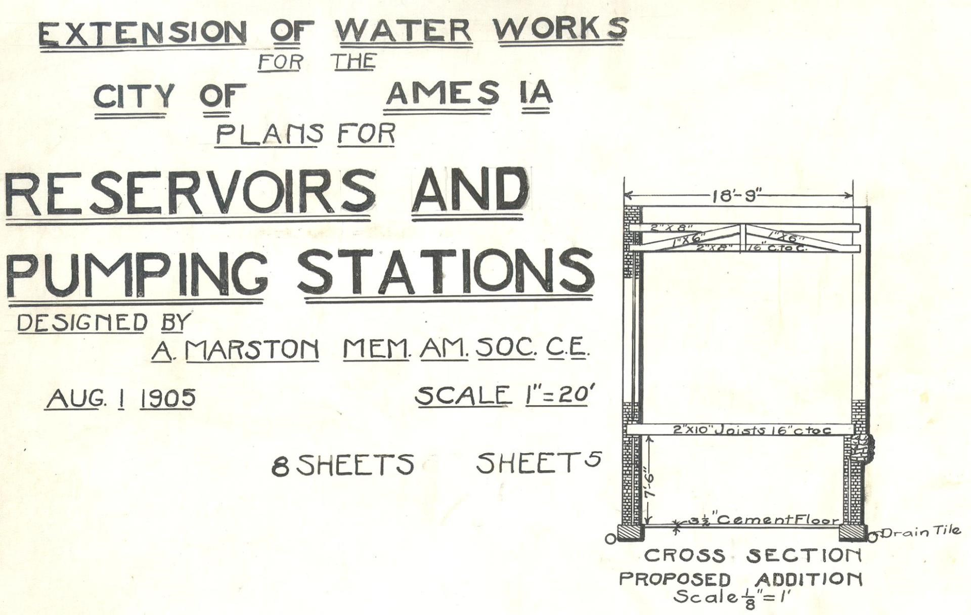 Historical Proposal Cover for Water Works Extension in 1905