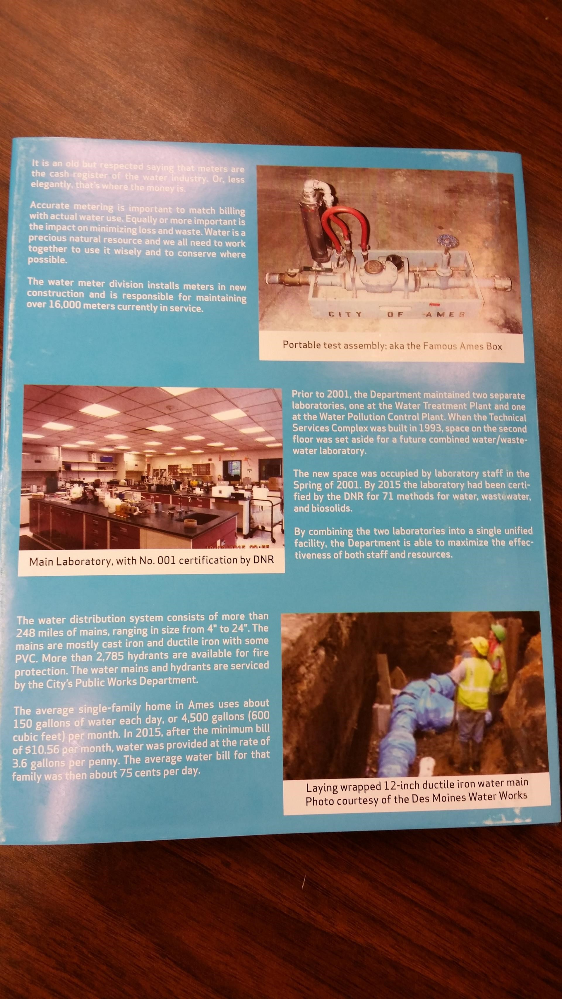 Back cover of History of the Ames Water Department book