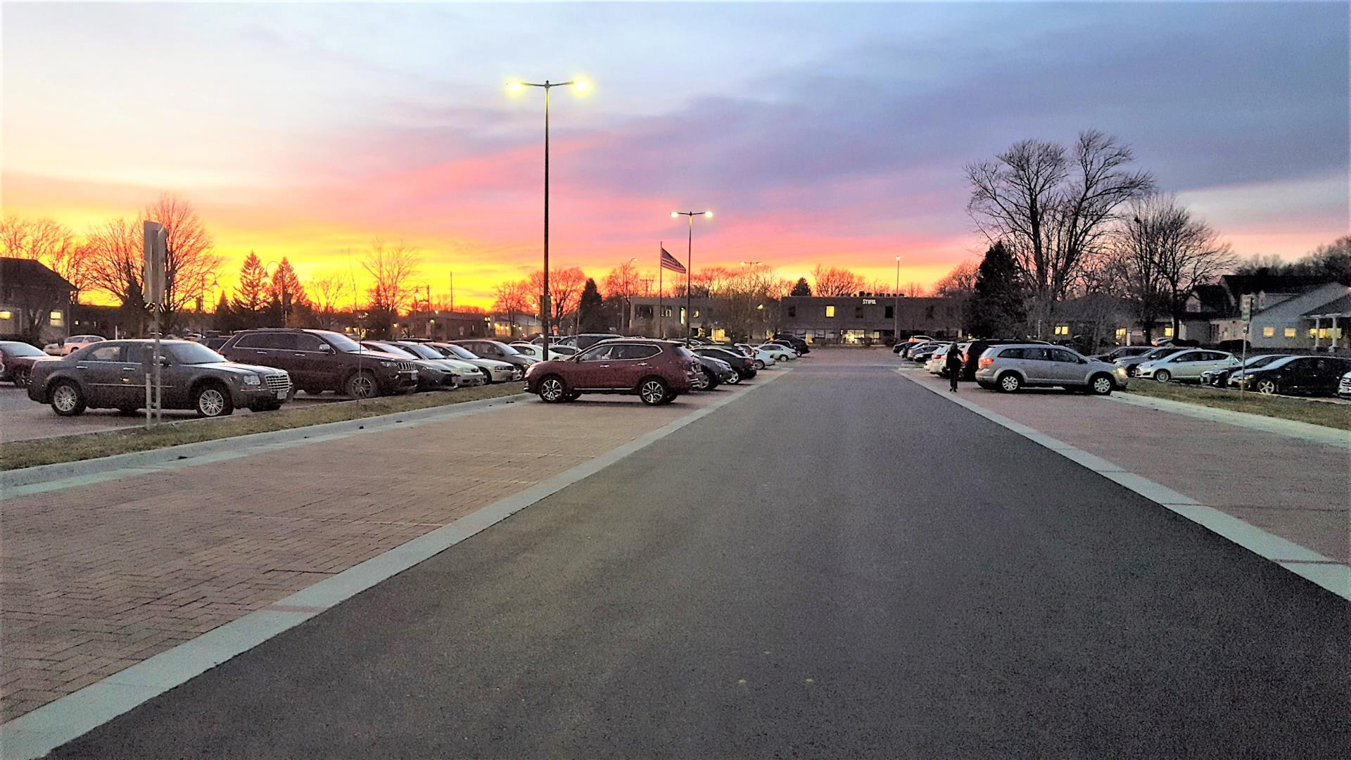 City Hall parking lot at sunset.